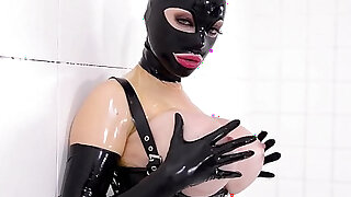 Prick on a Stick Latex Lucy gets Drilled by a Fucking Machine