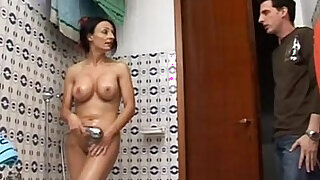 Hot mom spied on the shower gives great blow job