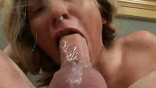 Blonde Roxy Jezel teary eyed while gagging cock