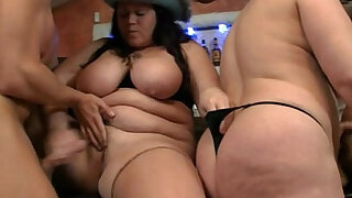 Three plumper bitches in group sex orgy