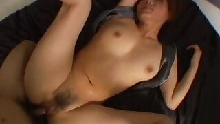 Hairy Japanese pussy is fucked really hard in a threesome