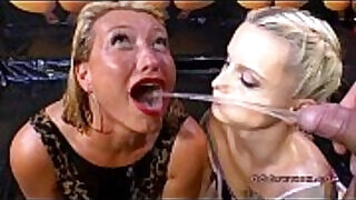 Two sexy sluts gets pissing from dick