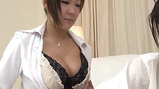 Morinaga uses her tits to stroke the cock