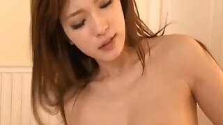 Arousing Asian milf Mei Haruka gets a hardcore dick to ride after blowjob