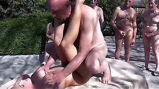 Old farts gangbang young hottie outdoors