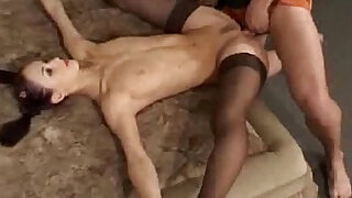 Flexible gymnast gets her tits fucked