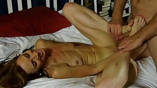 Slim old spunker enjoys hard anal fucking and a sticky facial cumshot