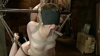 Bound babe throat fucked by huge black monster dick
