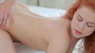 Fiery redhead Entice seduces her man in her