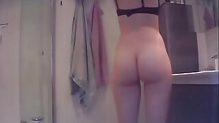 Bathroom Spycam Caught Young Teen Getting Naked